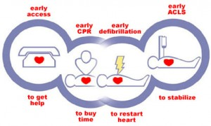 "An image showing the ""chain of survival"" which consists of early access, early CPR, early defibrillation and early access to an A&E department."